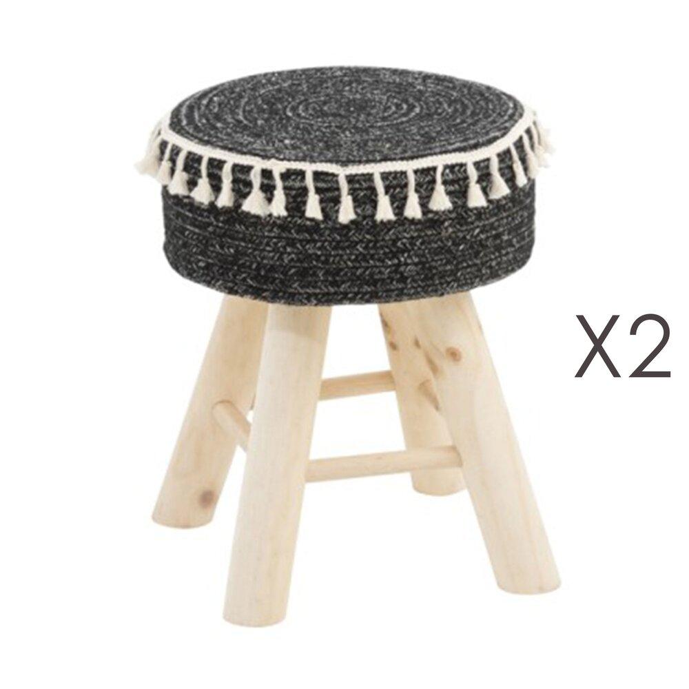 Tabouret - Lot de 2 tabourets 35x30x41 cm en bois et jute noir photo 1