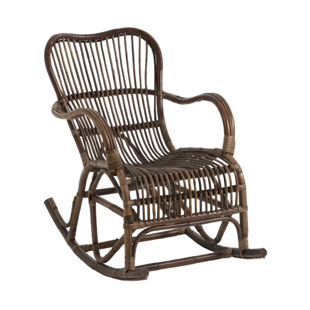 Fauteuil - Rocking chair 95x56x86 cm en rotin marron photo 1