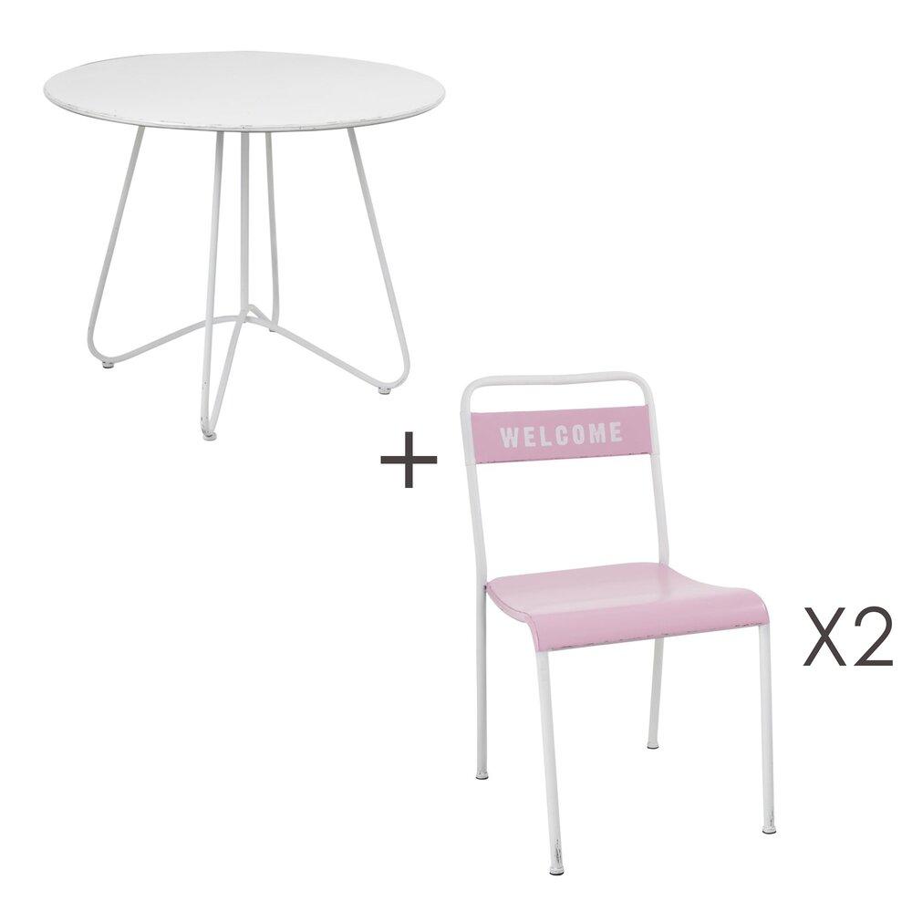 Table - Ensemble table ronde 91 cm + 2 chaises en métal blanc et rose photo 1