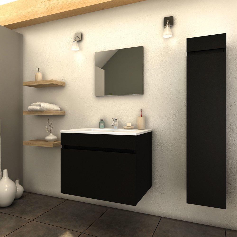 Ensemble meuble 60 cm + 1 colonne + 1 vasque laqué noir mat ...