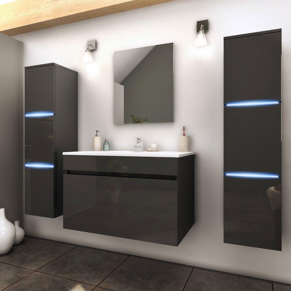 Meuble Pour Vasque Avec Colonne ensemble meuble 80 cm + 2 colonnes avec led + 1 vasque laqué