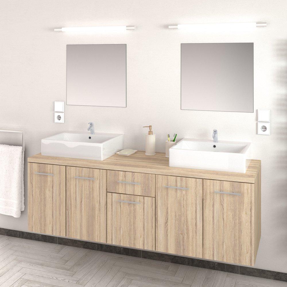 Ensemble meuble 150 cm + 2 vasques et 2 miroirs décor chêne ...