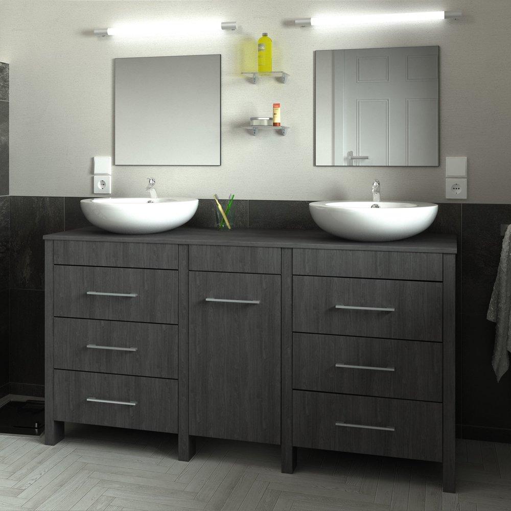 Ensemble meuble 150 cm + 2 vasques + 2 miroirs gris foncé ...