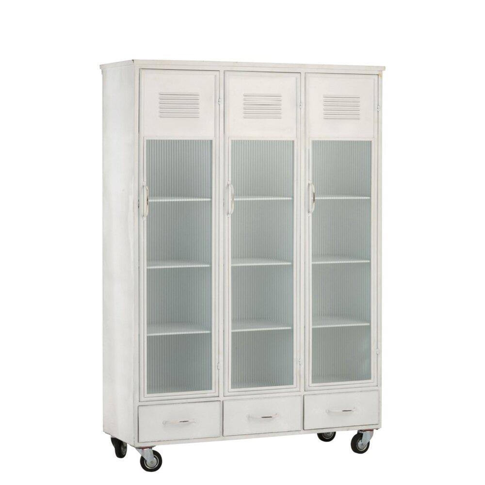 Armoire - Armoire 3 portes et 3 tiroirs sur roulettes en métal blanc photo 1