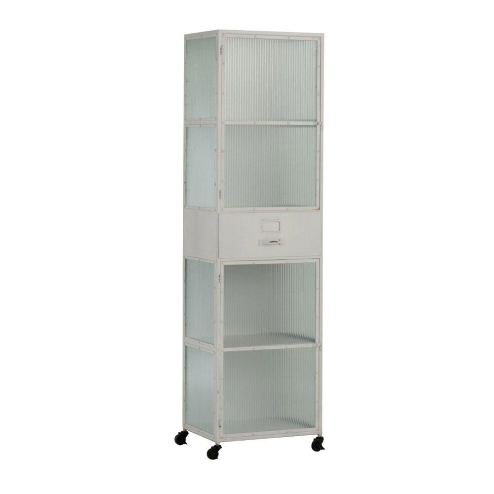 Armoire - Armoire haute 2 portes et 1 tiroir sur roulettes en métal blanc photo 1