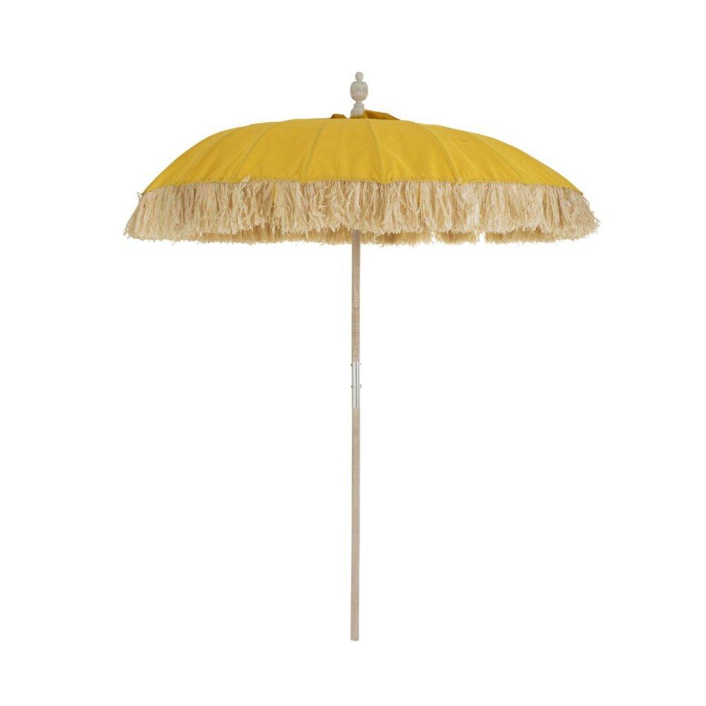Parasol - Parasol rond 190 cm en bambou et tissu jaune photo 1
