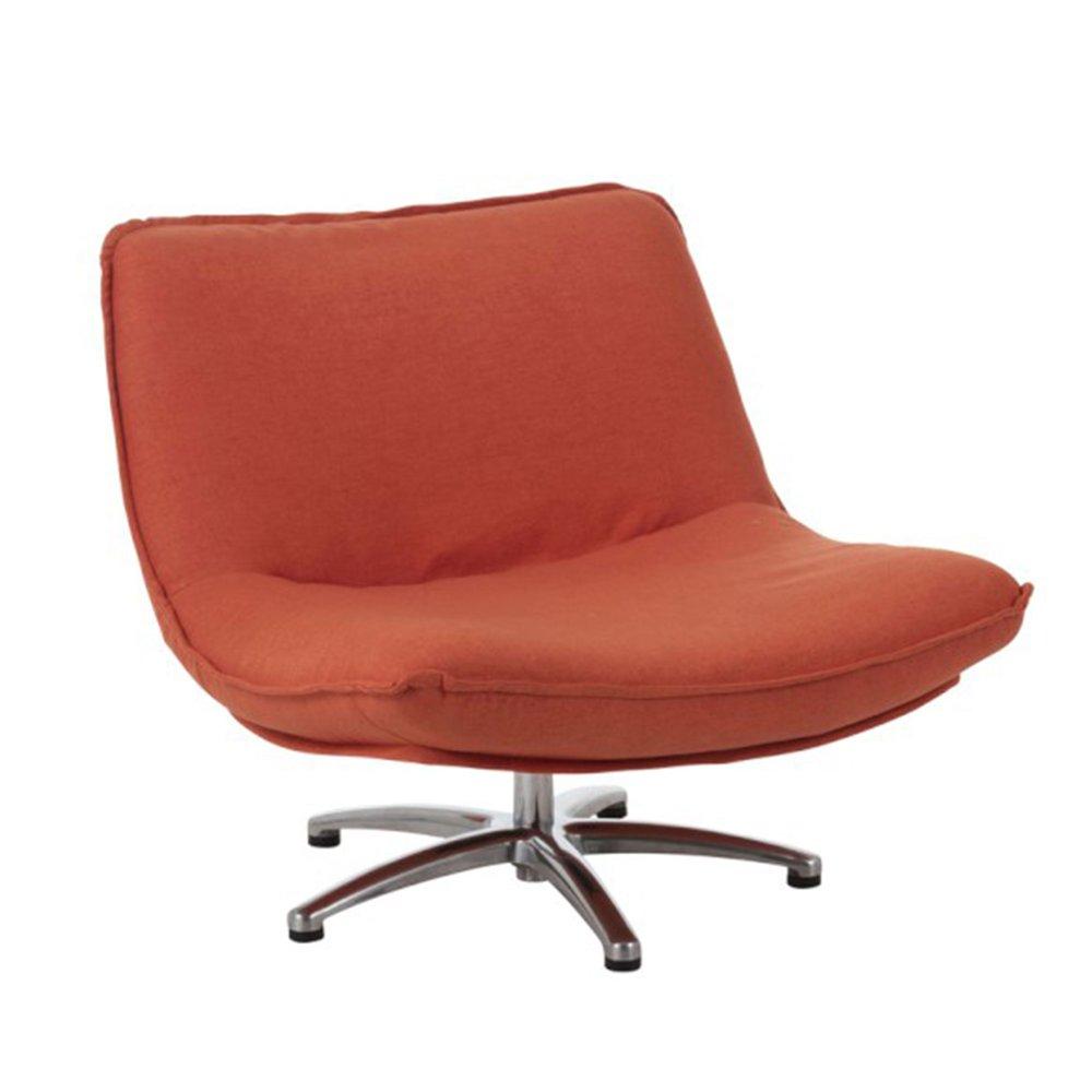 Fauteuil - Fauteuil pivotant 85x94x68 cm en tissu velours orange photo 1