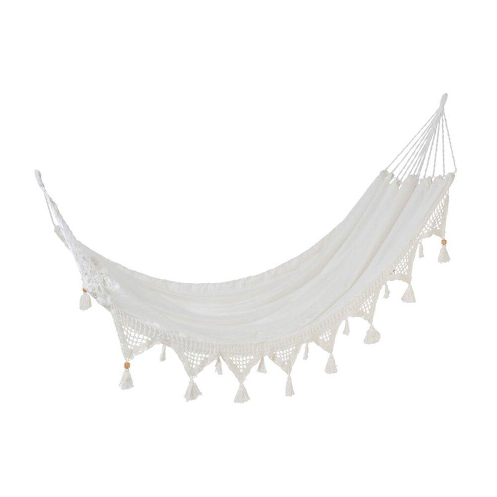 Fauteuil - Hamac 220x150 cm en coton blanc avec pompons photo 1