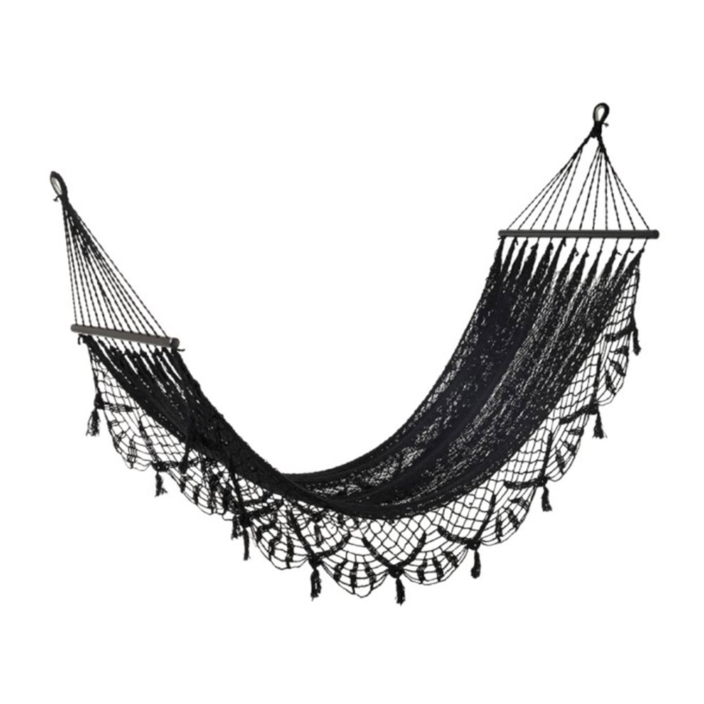 Fauteuil - Hamac crochet 220x77 cm en coton noir photo 1