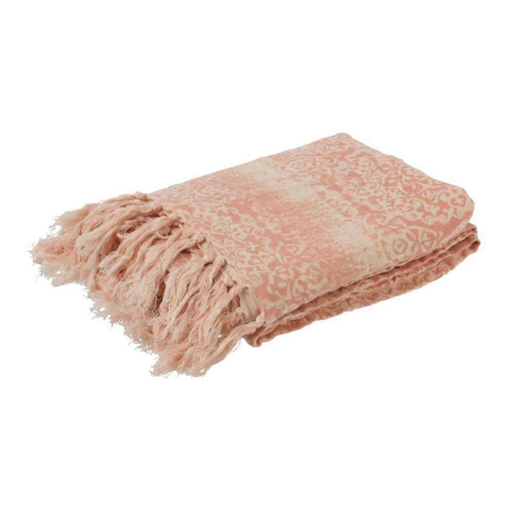 Couvre-lits et accessoires - Plaid motif oriental 130x170 cm en coton orange et blanc photo 1