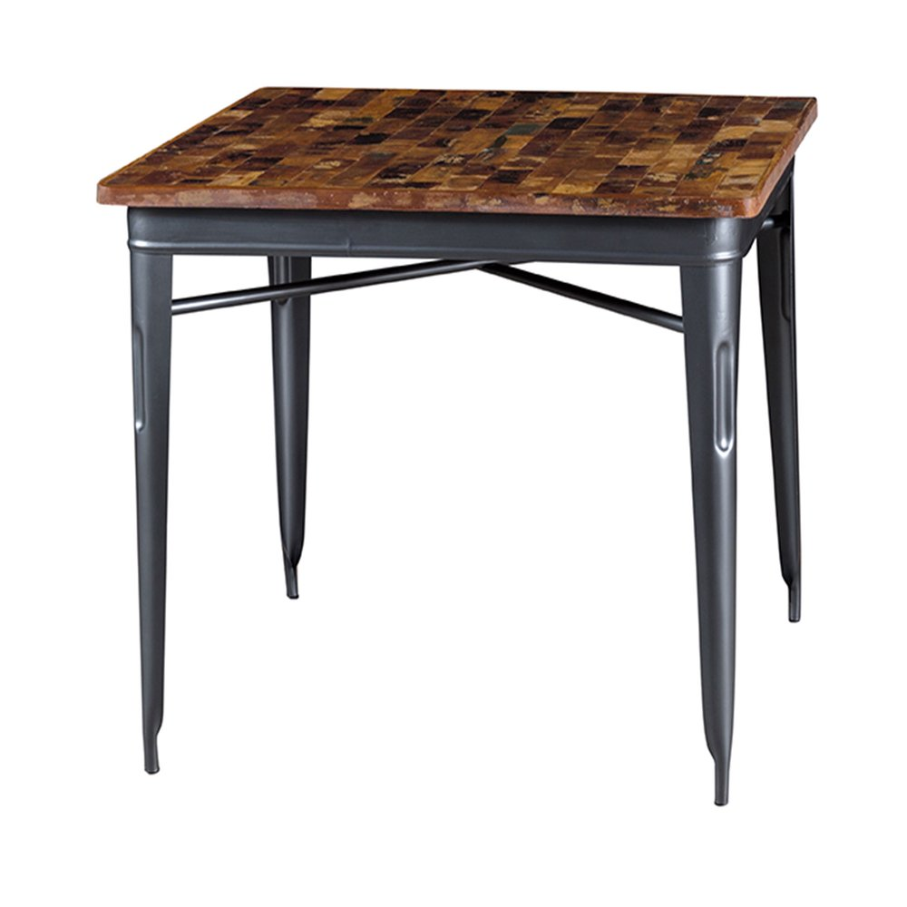 Table - Table carrée 90 cm en bois recyclé et métal gris - ARTY photo 1