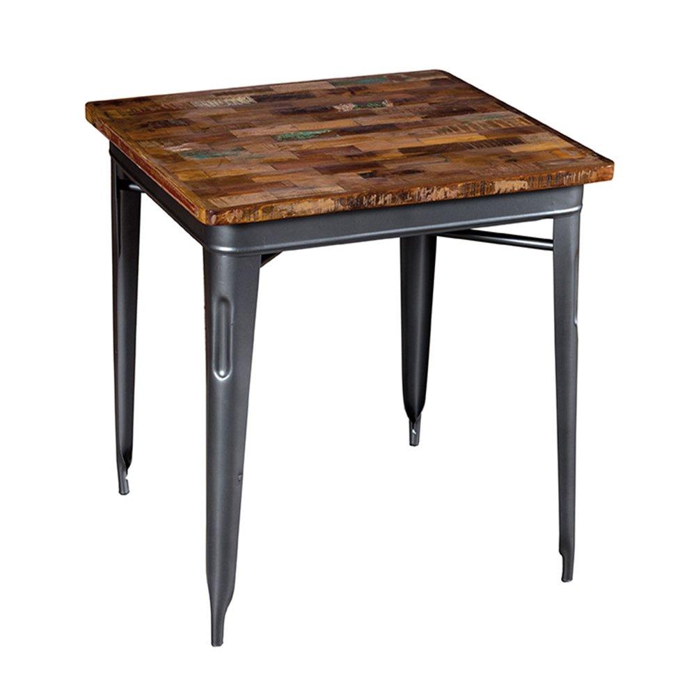 Table - Table carrée 70 cm en bois recyclé et métal gris - ARTY photo 1