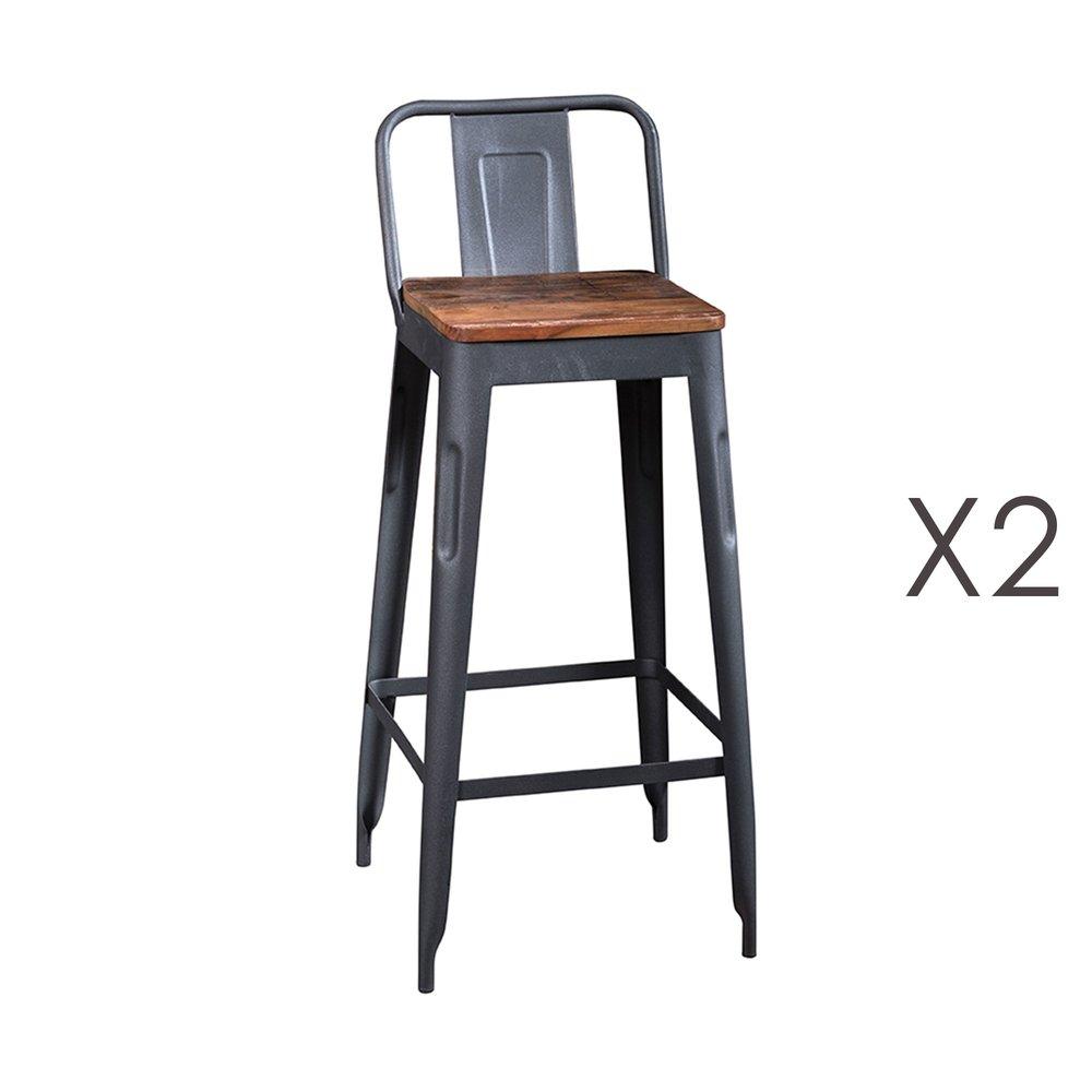 Tabouret de bar - Lot de 2 tabourets hauts en bois recyclé et métal gris - ARTY photo 1
