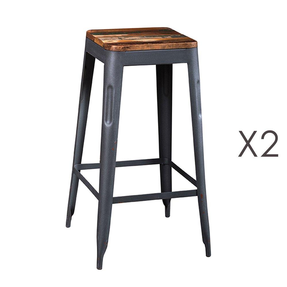 Tabouret de bar - Lot de 2 tabourets de bar en bois recyclé et métal gris - ARTY photo 1