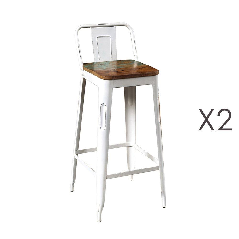 Tabouret de bar - Lot de 2 tabourets hauts en bois recyclé et métal blanc - ARTY photo 1