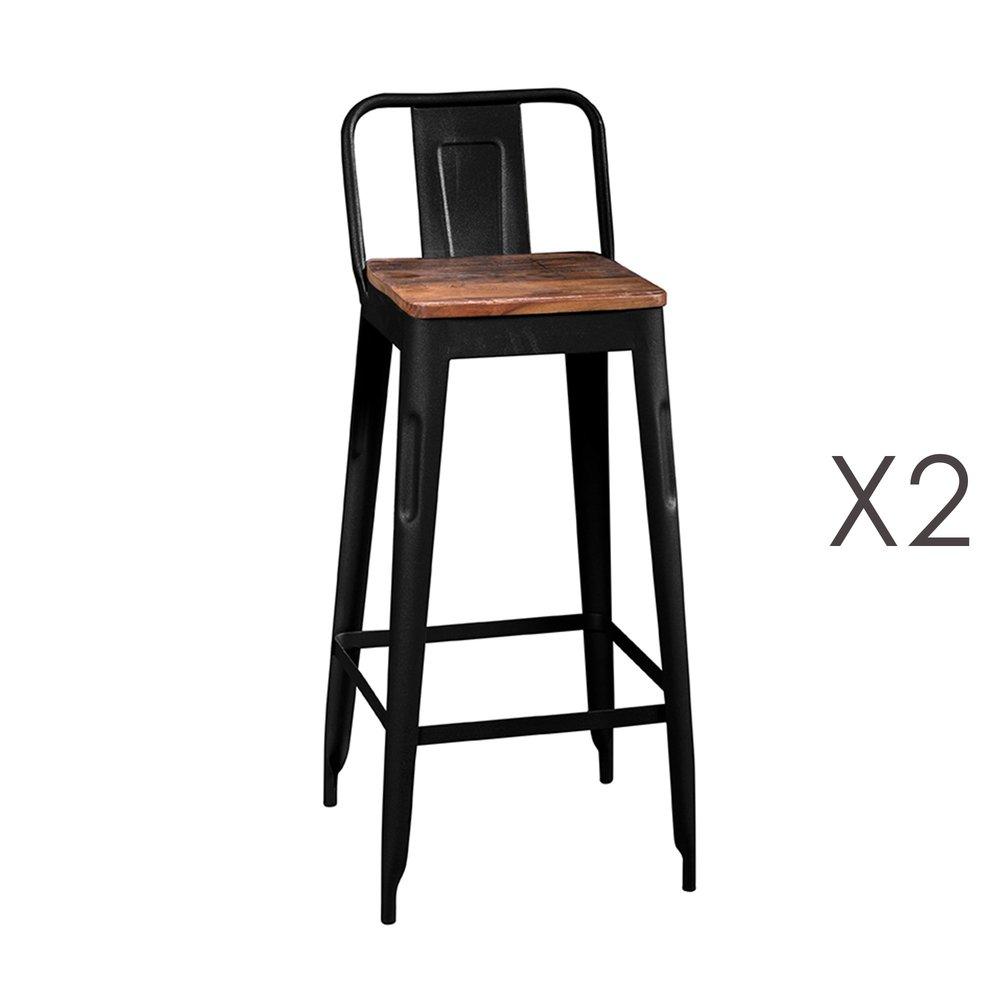 Tabouret de bar - Lot de 2 tabourets hauts en bois recyclé et métal noir - ARTY photo 1