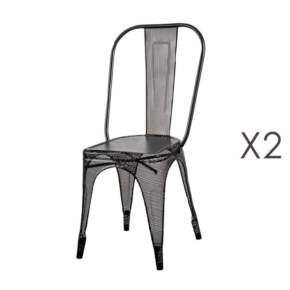Chaise - Lot de 2 chaises en métal noir - ARTY photo 1