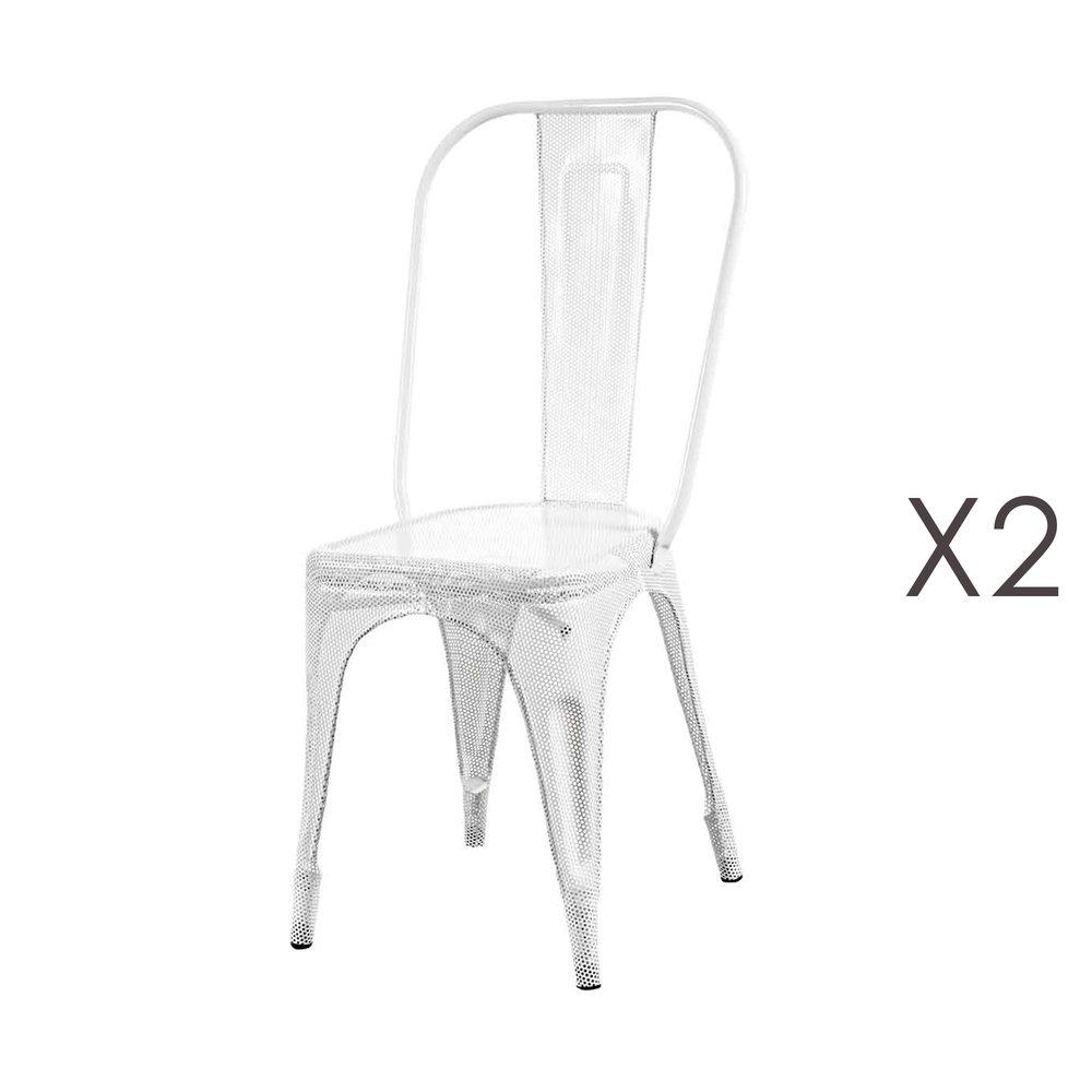 Chaise - Lot de 2 chaises en métal blanc - ARTY photo 1