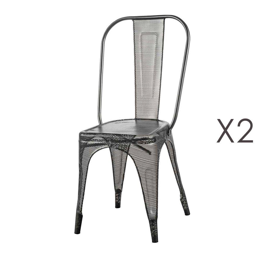 Chaise - Lot de 2 chaises en métal gris - ARTY photo 1