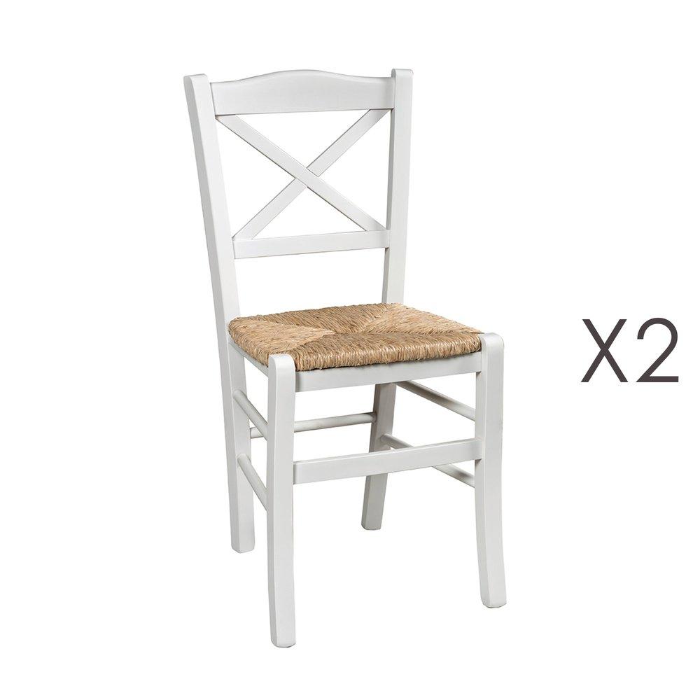 Lot de 7 chaises avec assise en paille naturel et bois blanc - ISTRES