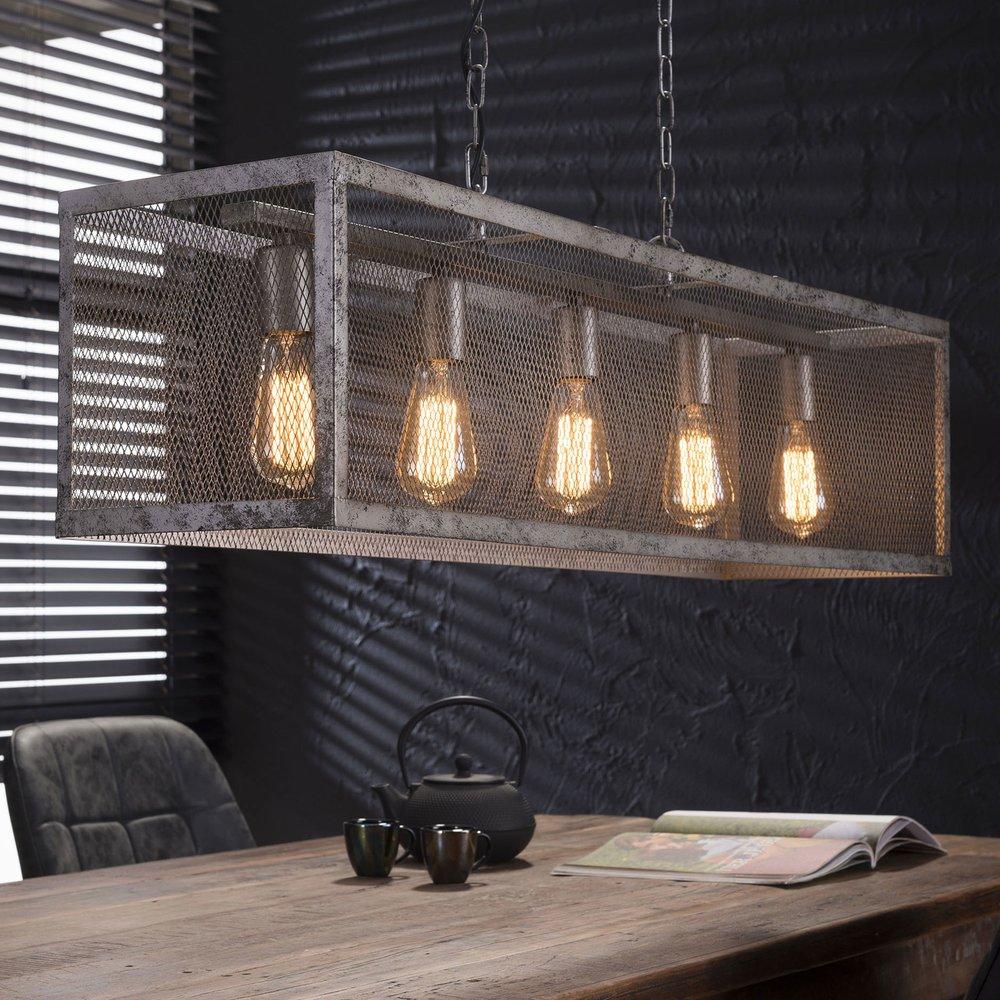 Déstockage - Suspension industrielle 5 ampoules avec abat-jour grille argent photo 1