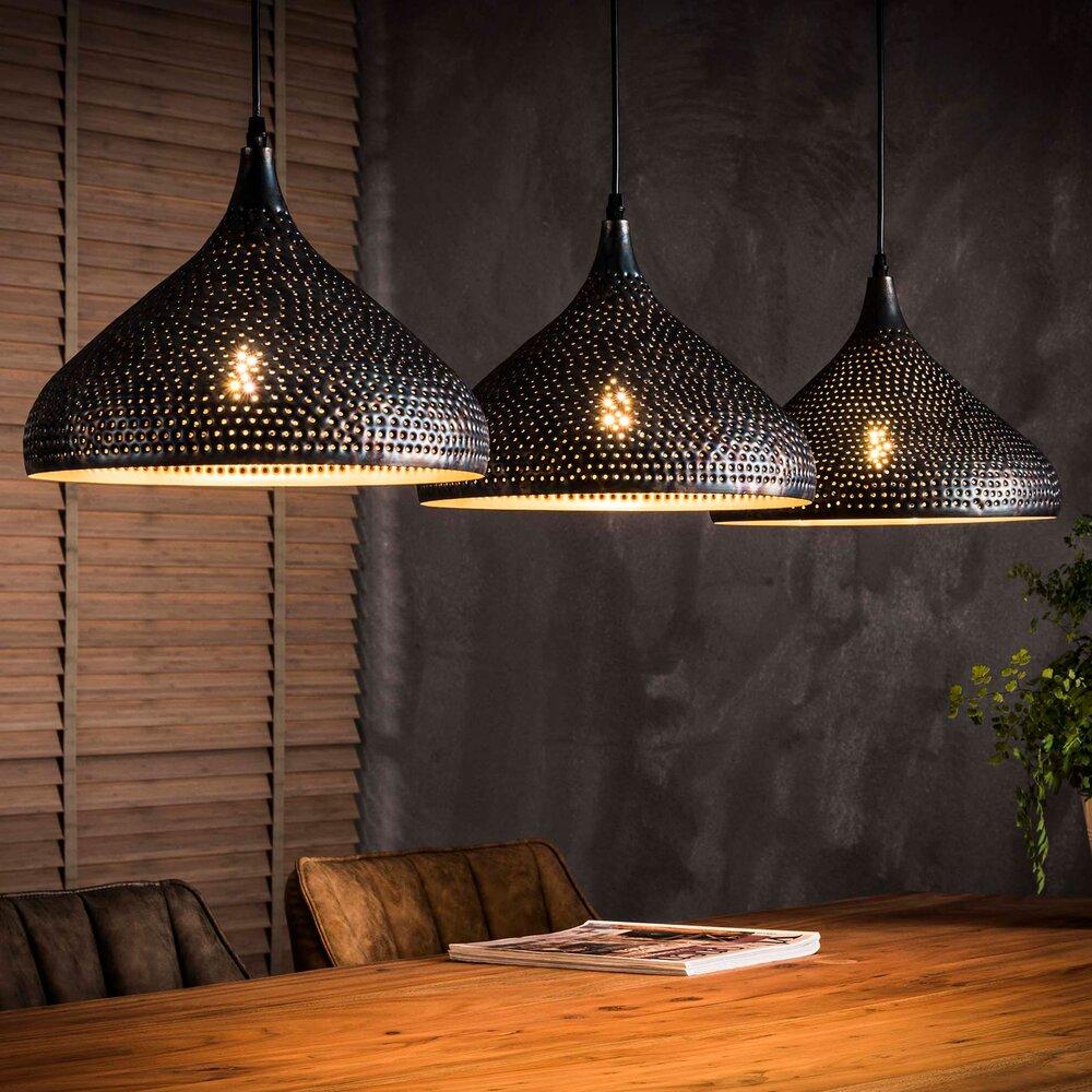Déco - Suspension industrielle 3 lampes forme entonnoir en métal noir photo 1