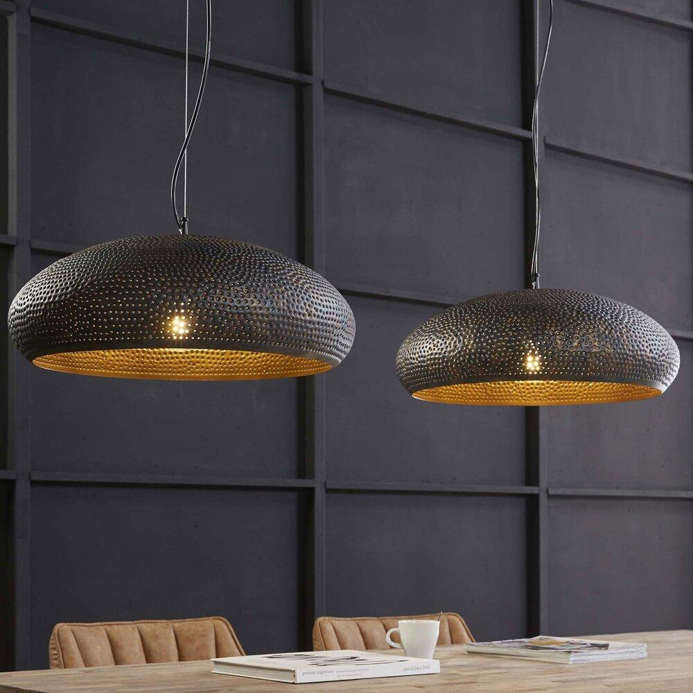 Luminaire - Suspension industrielle 2 lampes ovales en métal noir photo 1