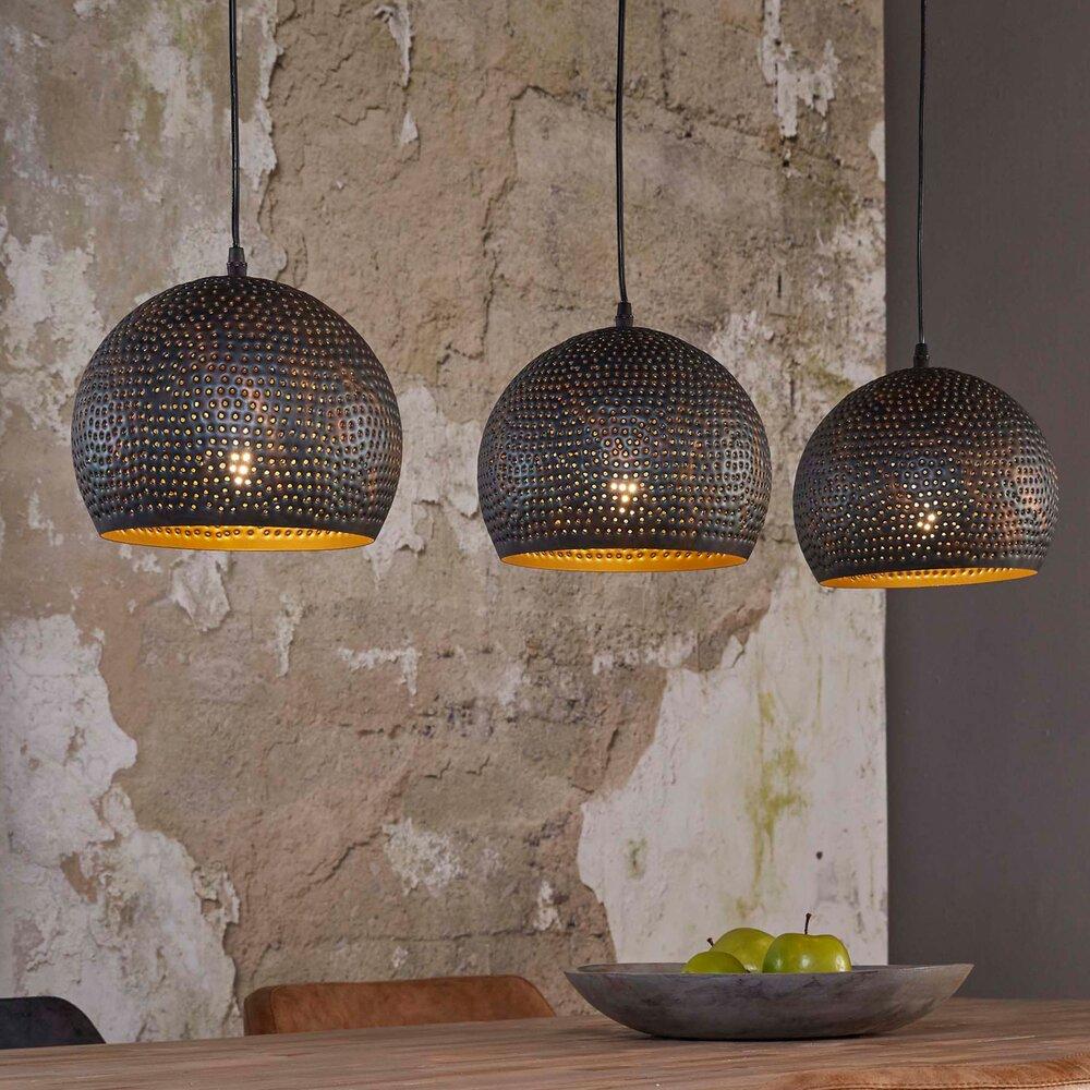 Déco - Suspension industrielle 3 lampes rondes 25 cm en métal noir photo 1