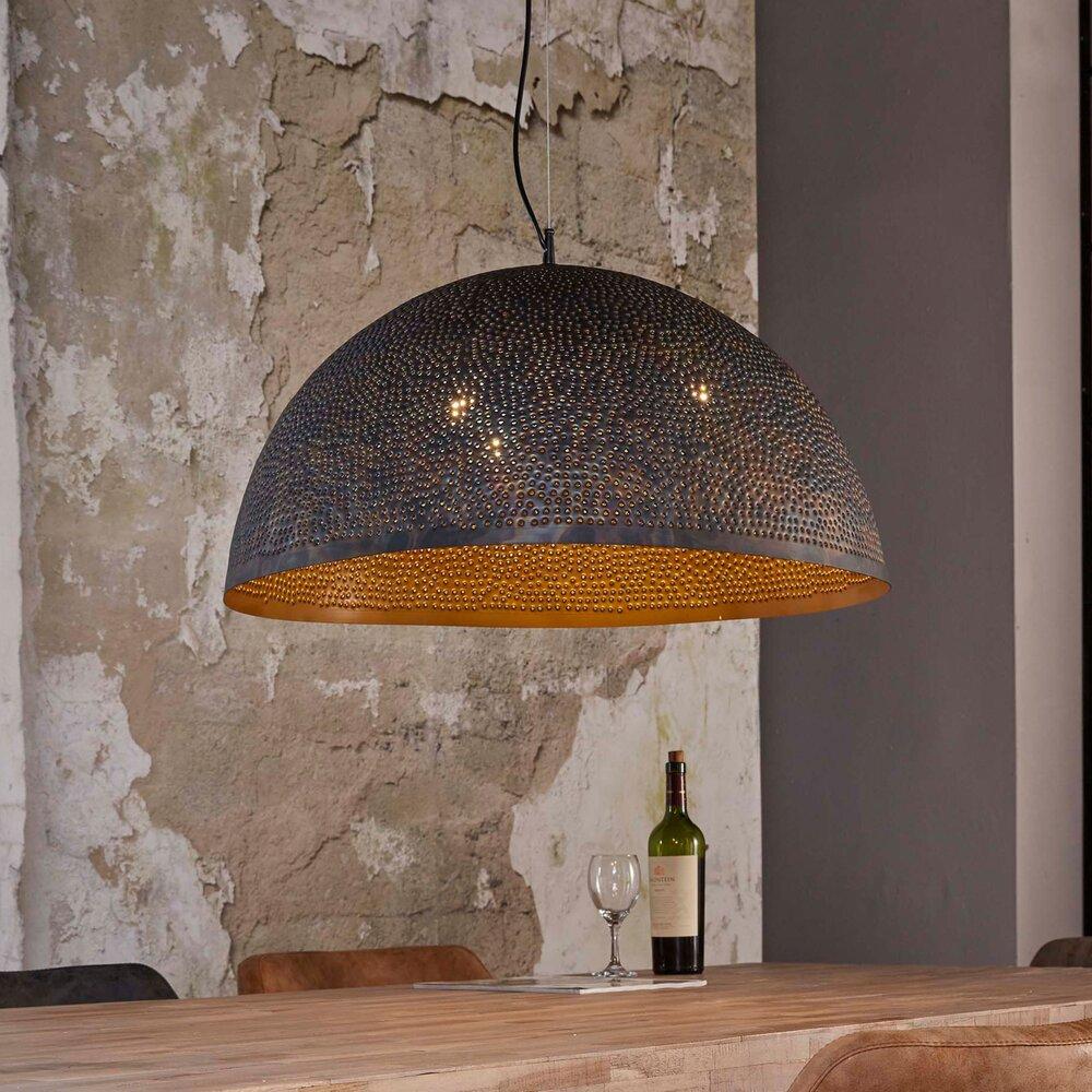 Luminaire - Suspension industrielle ronde 70 cm 3 ampoules en métal noir photo 1