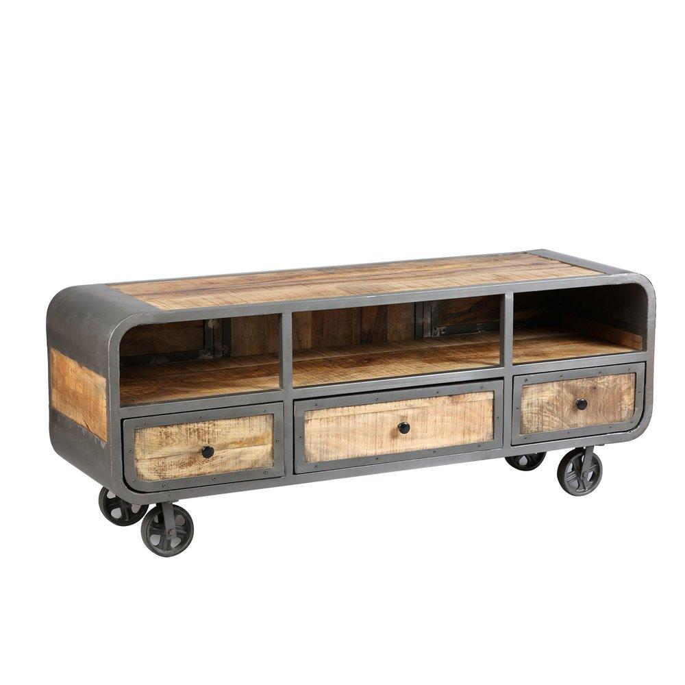 Meuble TV - Hifi - Meuble TV sur roulettes en bois naturel et métal gris - NEVADA photo 1