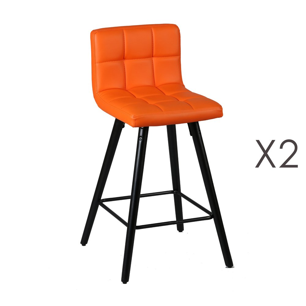 Tabouret de bar - Lot de 2 tabourets de bar 39x43x91 cm orange et anthracite - ASTORIA photo 1