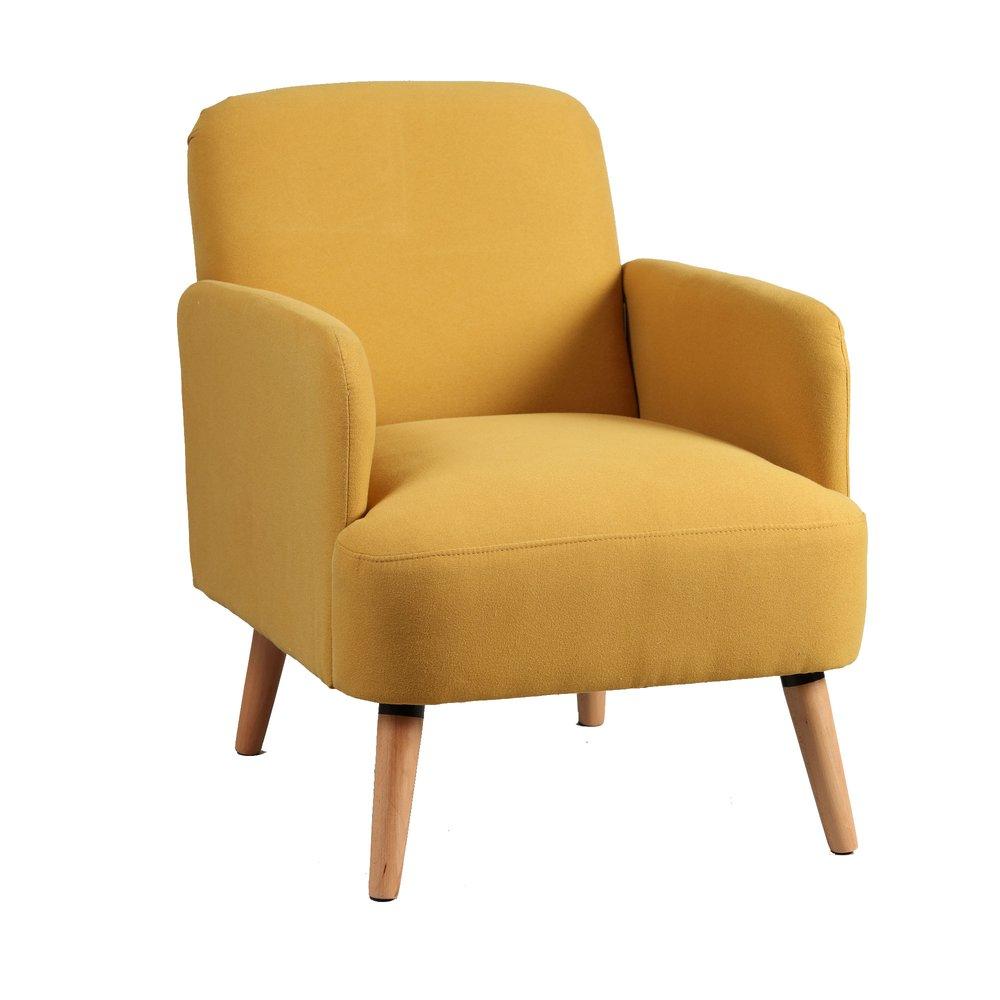 Fauteuil - Fauteuil 63x75x79 cm en tissu jaune - PORTLAND photo 1