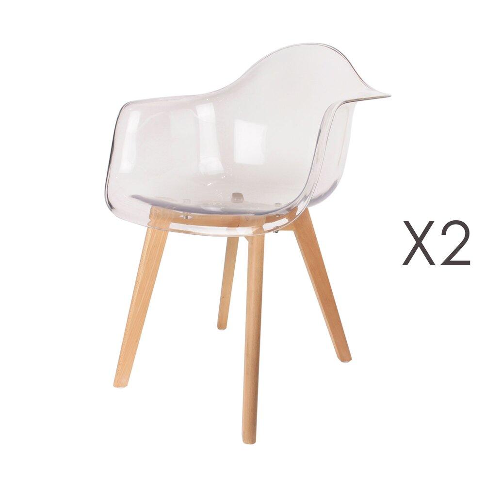 Chaise - Lot de 2 fauteuils transparents et pieds naturel - IDRIS photo 1