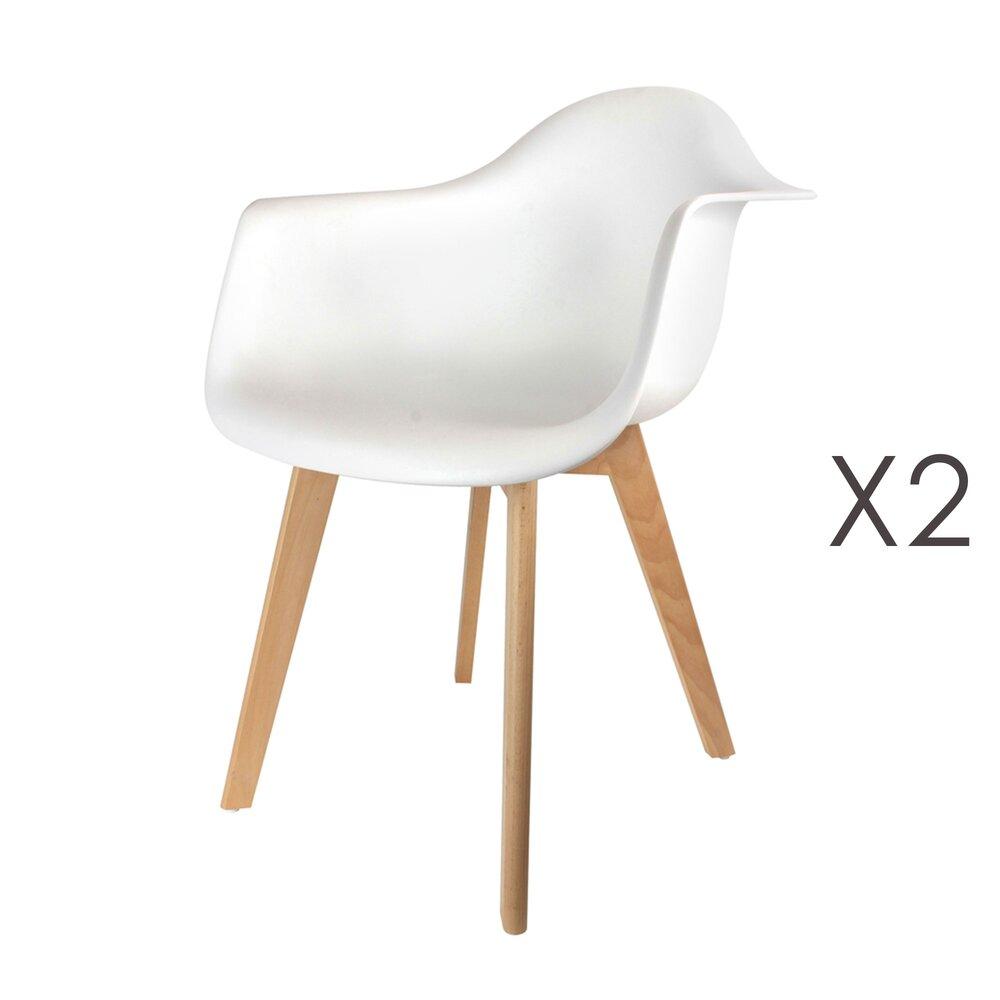 Chaise - Lot de 2 fauteuils blancs et pieds naturel - IDRIS photo 1