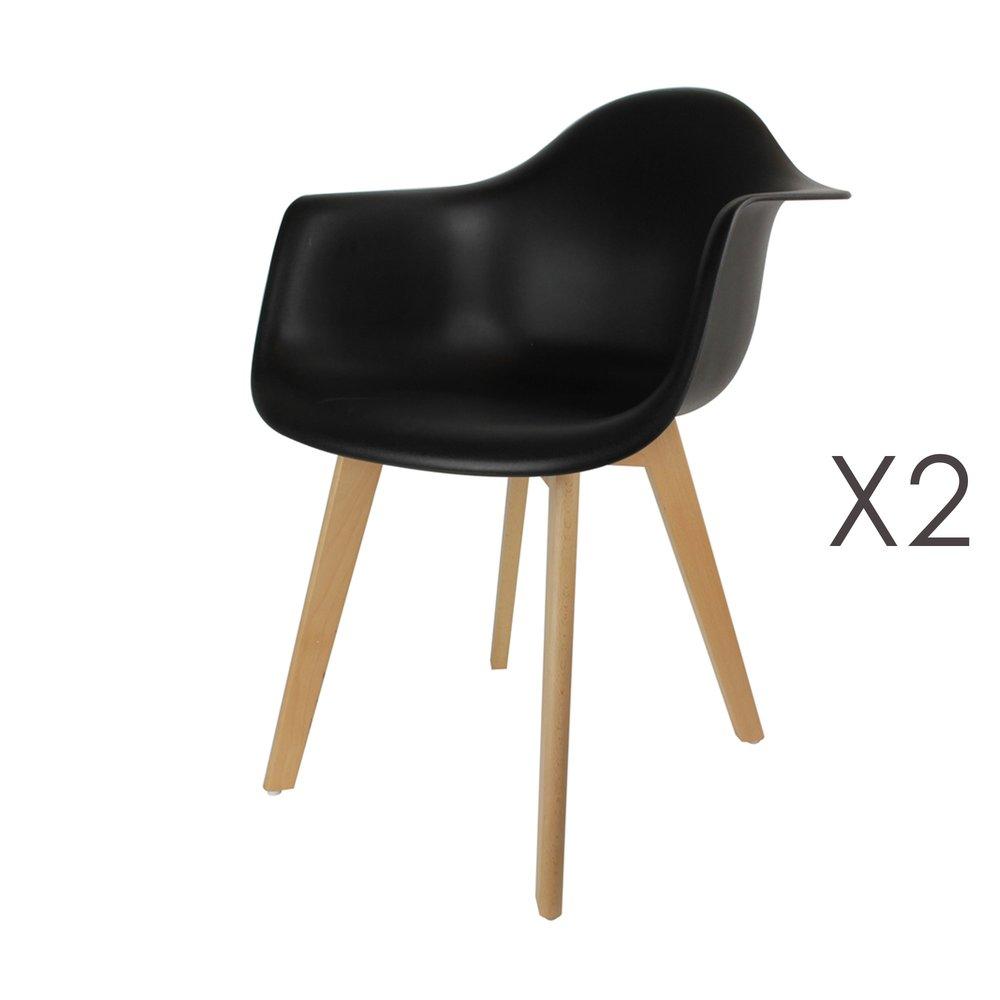 Chaise - Lot de 2 fauteuils noirs et pieds naturel - IDRIS photo 1