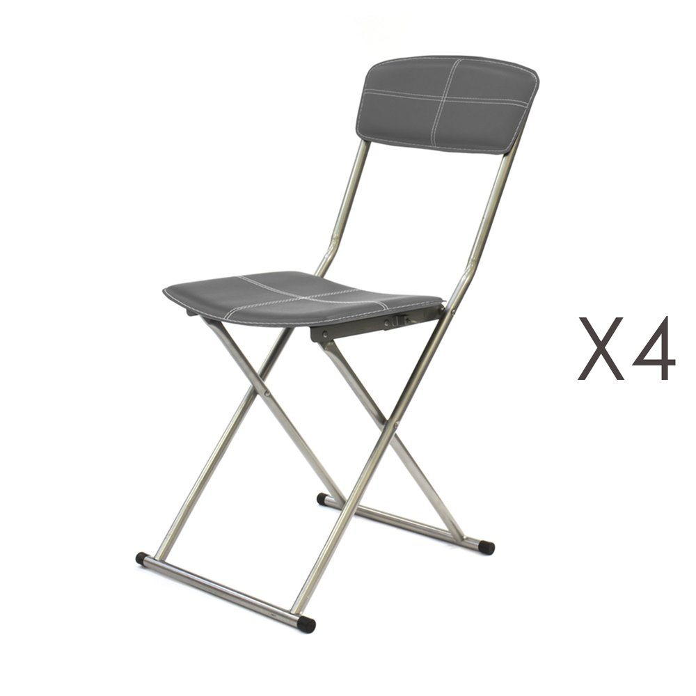 Lot de 4 chaises pliantes grises foncé RODD