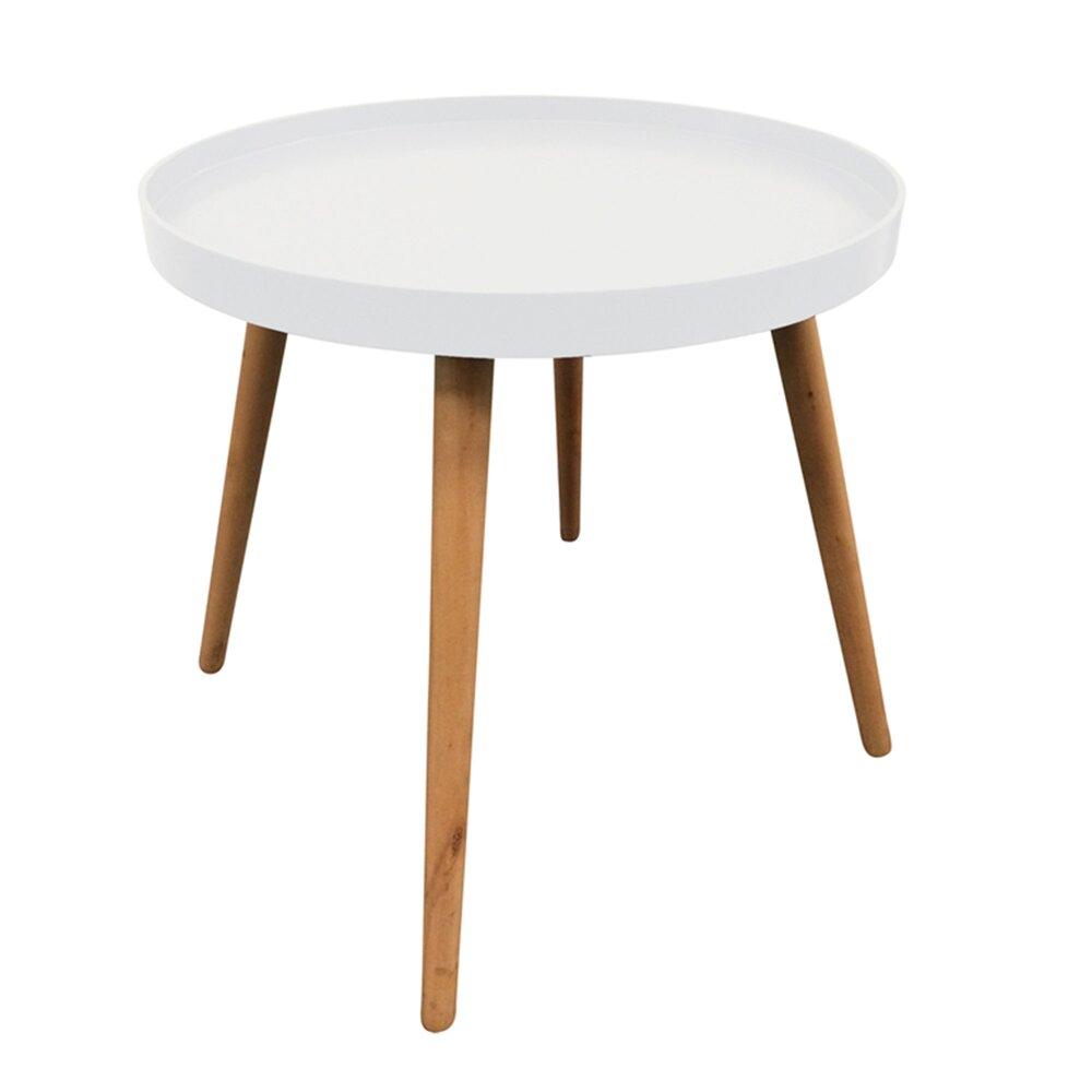 Table basse - Table d'appoint ronde 50x50x44 cm en bois blanc - BALTIC photo 1