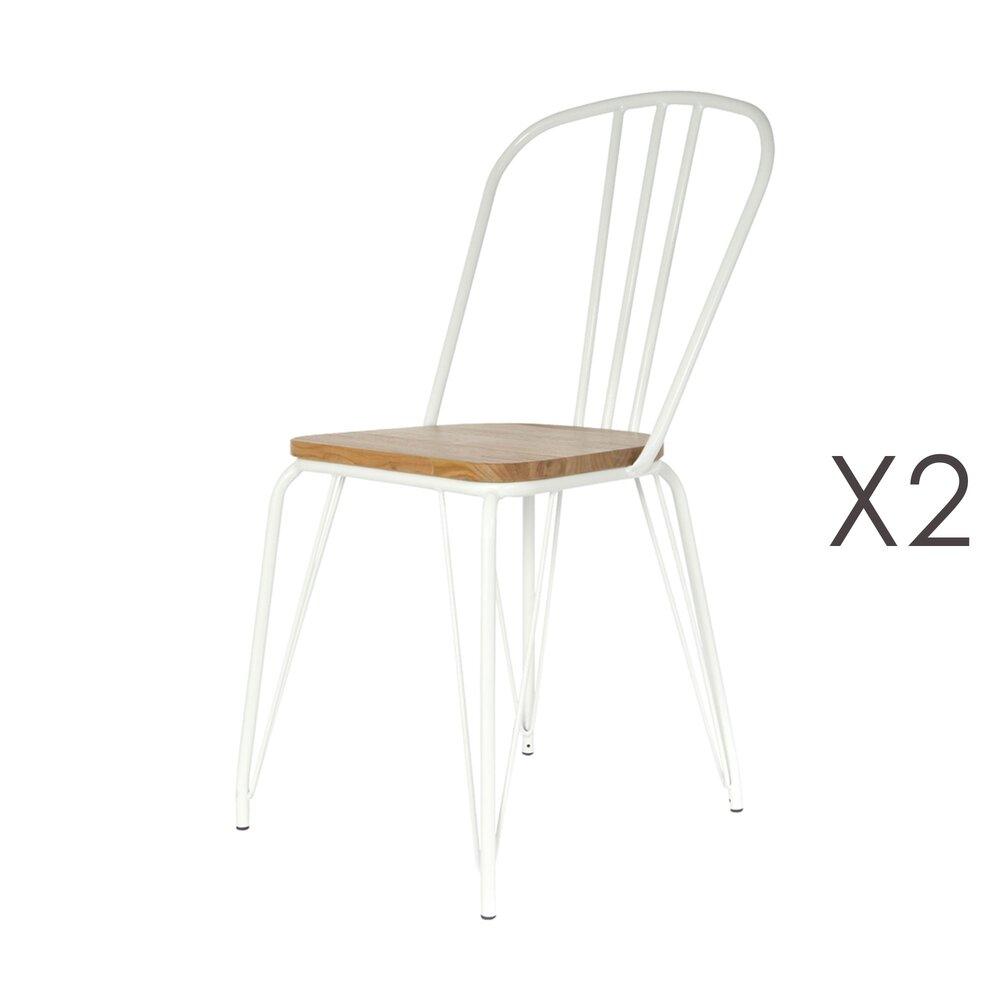 Chaise - Lot de 2 chaises en bois et métal blanc - MELODIE photo 1
