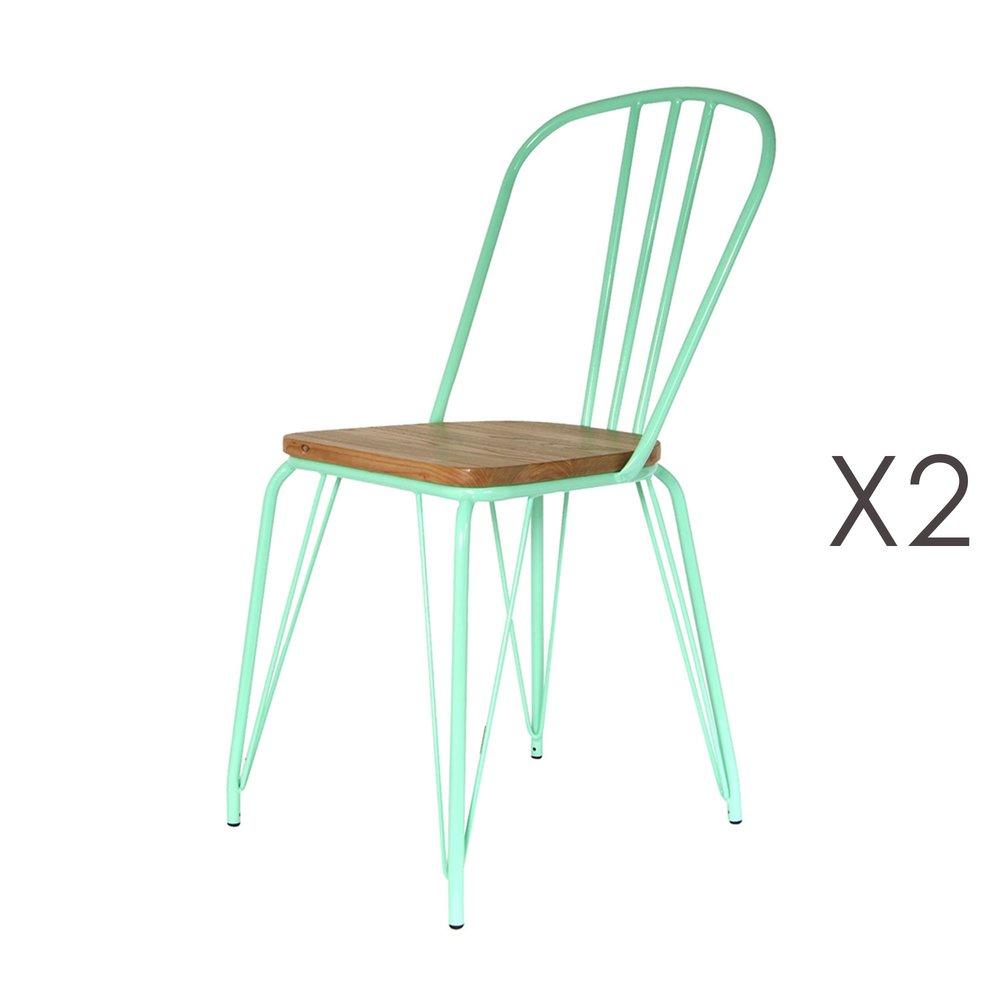 Chaise - Lot de 2 chaises en bois et métal vert d'eau - MELODIE photo 1