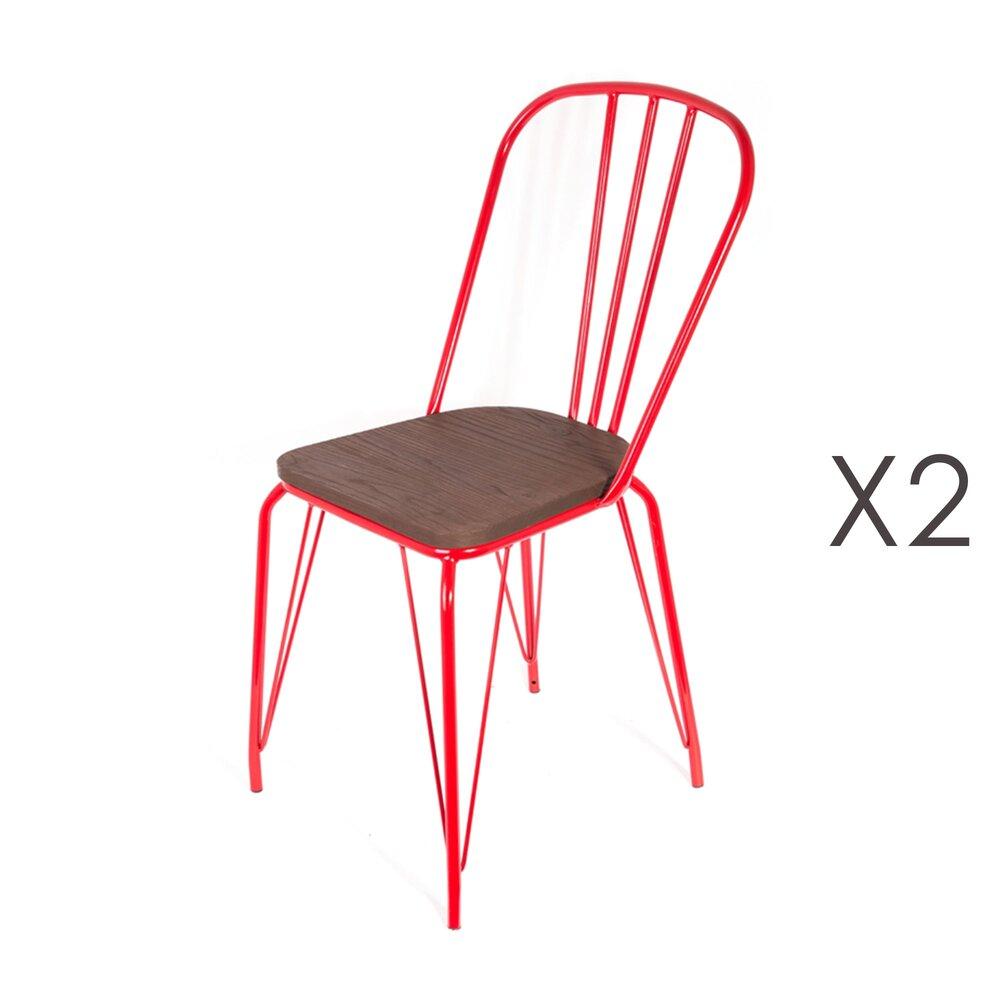Chaise - Lot de 2 chaises en bois et métal rouge - MELODIE photo 1
