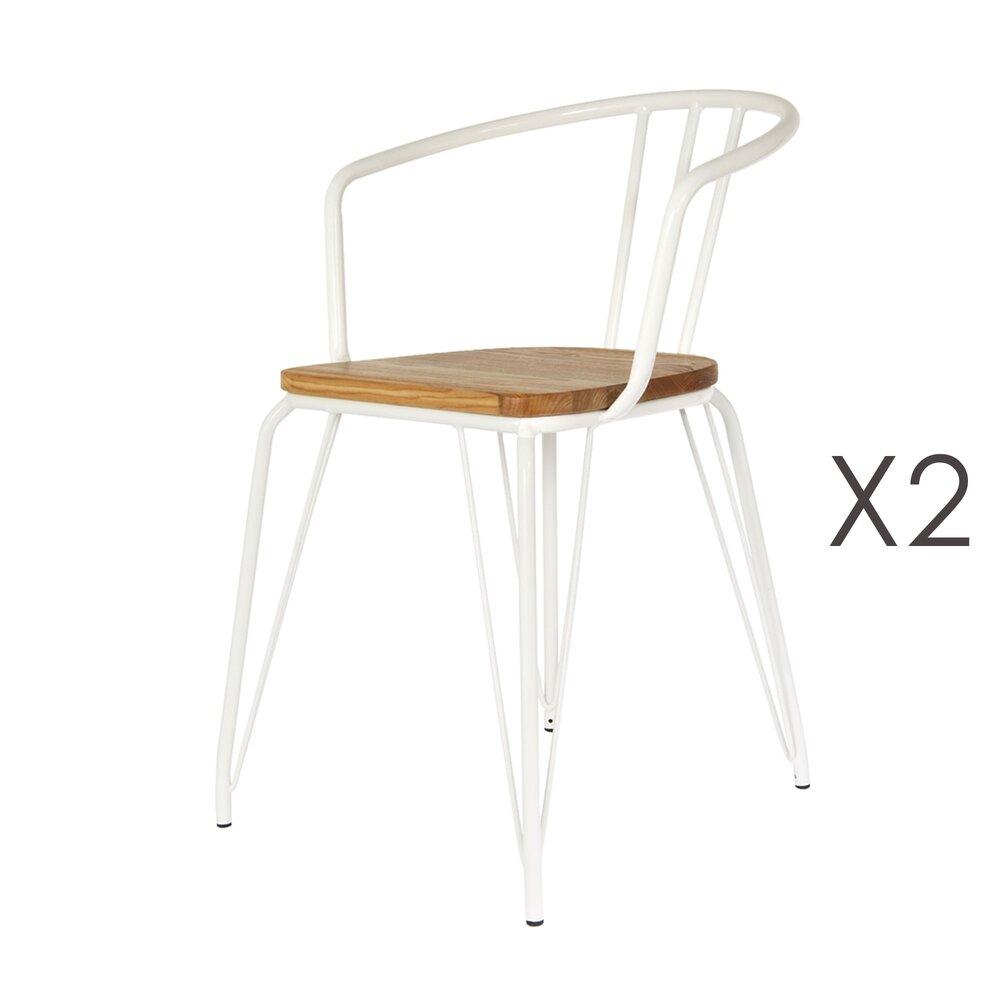 Chaise - Lot de 2 fauteuils en bois et métal blanc - MELODIE photo 1