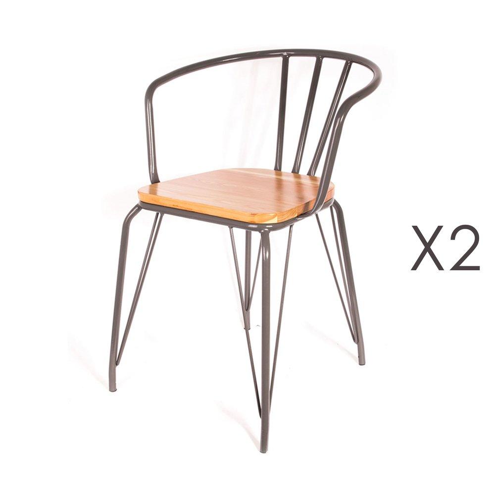 Chaise - Lot de 2 fauteuils en bois et métal noir - MELODIE photo 1