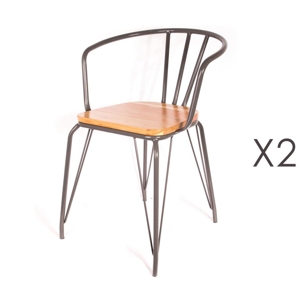 Chaise - Lot de 2 fauteuils en bois et métal gris - MELODIE photo 1