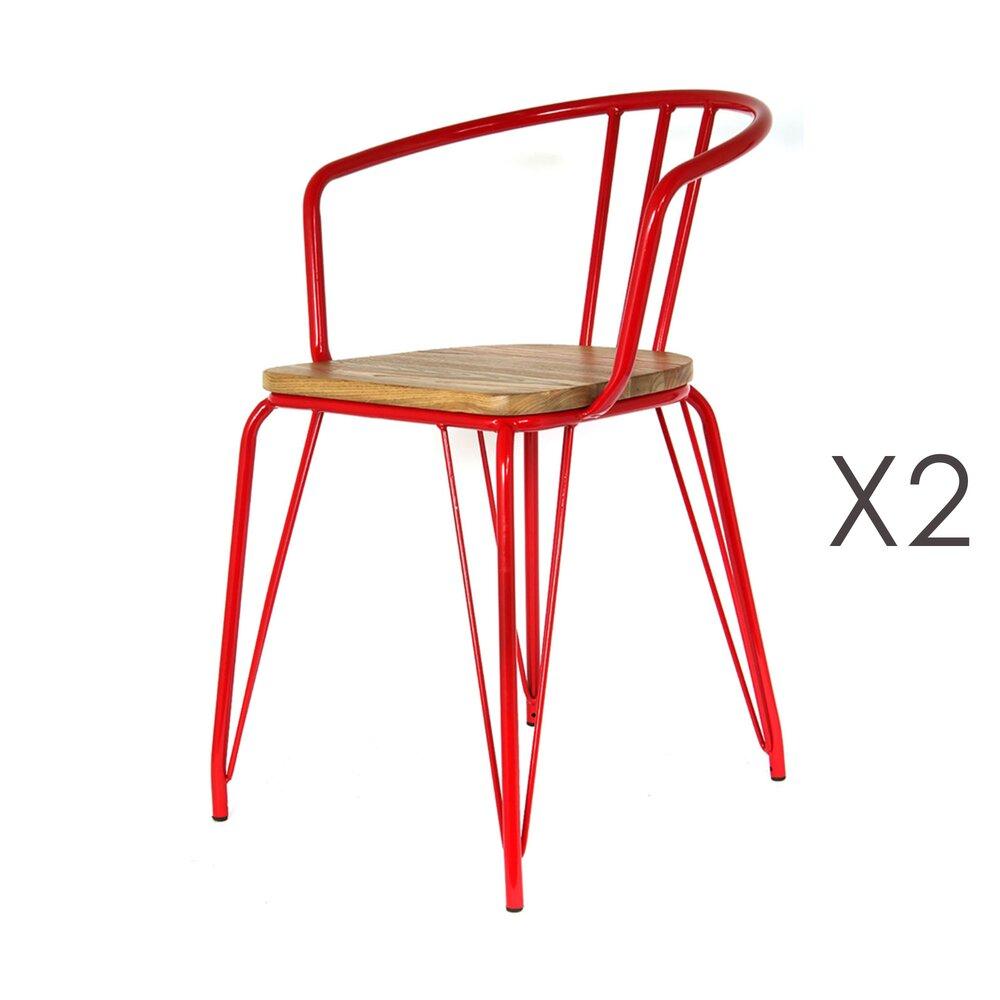 Chaise - Lot de 2 fauteuils en bois et métal rouge - MELODIE photo 1
