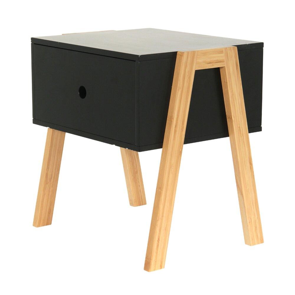 Chevet - Chevet empilable 1 tiroir en bois noir et naturel - NARVIK photo 1