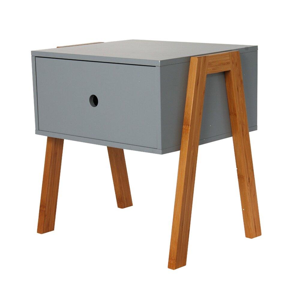 Chevet - Chevet empilable 1 tiroir en bois gris et naturel - NARVIK photo 1