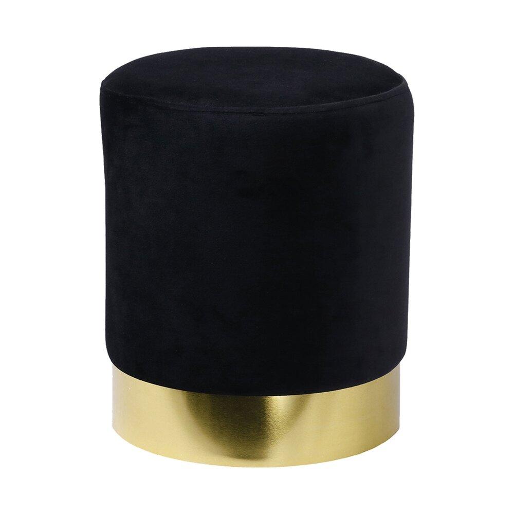 Pouf - Pouf rond 30x40 cm en velours noir et métal - TIAGO photo 1