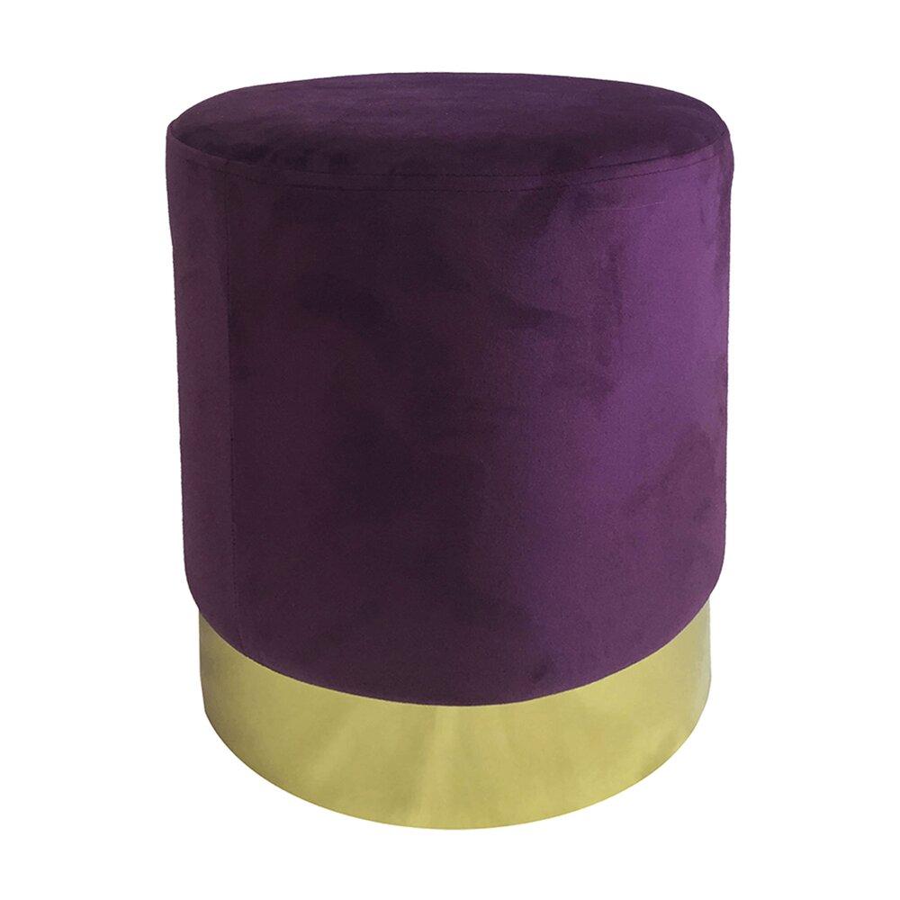 Pouf - Pouf rond 30x40 cm en velours violet et métal - TIAGO photo 1