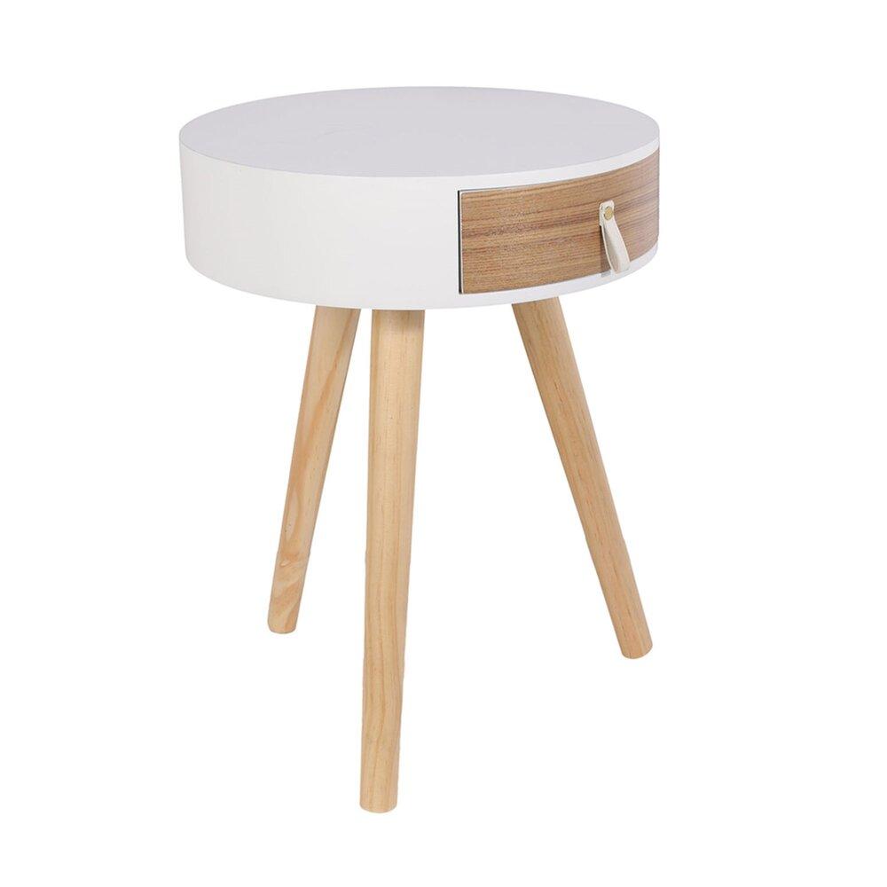 Chevet - Chevet rond 1 tiroir 35x46 cm en bois naturel et blanc photo 1