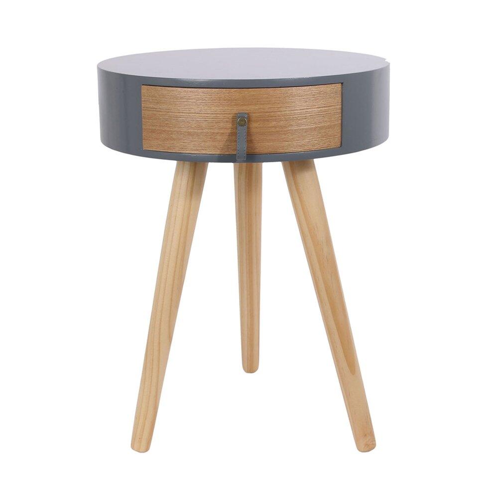 Chevet - Chevet rond 1 tiroir 35x46 cm en bois naturel et gris photo 1